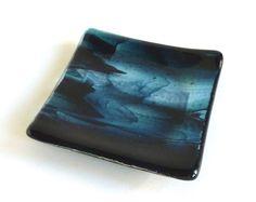 Small Glass Ring Dish in Streaky Dark Aquamarine Fused Glass