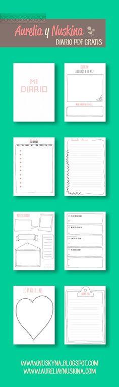 Diario personal para descargar gratis. Imprimibles gratis para organización, scrapbooking..