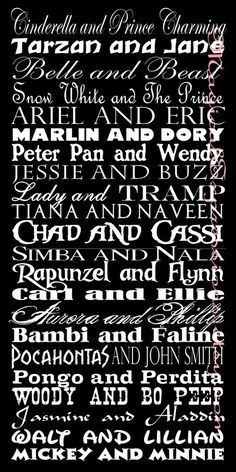 Disney couples names on this subway art print from Etsy.