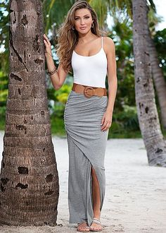 This skirt is fabulous because A. The belt comes with it. B. It's available in three colors. C. It can be worn by a 20 year old or a 40 year old woman perhaps with a different top and shoes. It can also be dressed up or dressed down.  Seamless cami, belted maxi skirt by VENUS