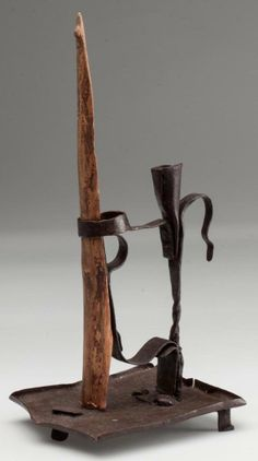 """WROUGHT-IRON ALPINE CANDLE HOLDER, square-form drip pan supported by three short feet, candle socket with spring grip mechanism. 19th century. 6 1/4"""" HOA, 4"""" x 4 1/2"""" overall....~♥~"""