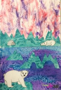 After School Art Projects 2015-16 Mixed Media Polar Bear and Iceberg Collage