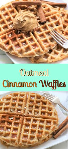 Oatmeal Cinnamon Waffles are the perfect way to start your morning breakfast. These waffles are a healthy alternative to cold cereal! Breakfast And Brunch, Breakfast Waffles, Pancakes And Waffles, Morning Breakfast, Breakfast Recipes, Dessert Recipes, Making Waffles, Whole Wheat Waffles, Yummy Waffles