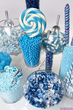 A balanced assortment of blue color shades makes this candy buffet design perfect for a variety of parties and events. Plus, the mixture of chocolates with fruity flavors offers a delicious candy feast for all!
