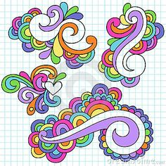 Groovy Notebook Doodle Design Elements Vector by Blue67, via Dreamstime