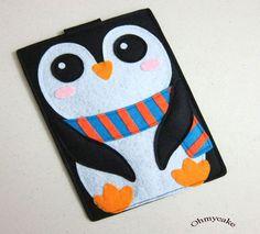 """iPad case - iPad and purse - iPad bag - iPad covers - iPad Sleeve - Handmade felt iPad Sleeve - """" Kawaii Penguin """" Design. $38.00, via Etsy."""