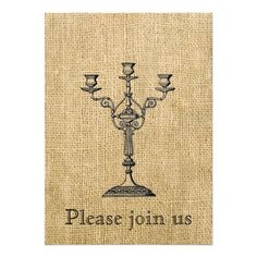 Vintage Candelabra on Burlap Invitations  - Murder Mystery Party or maybe Halloween?