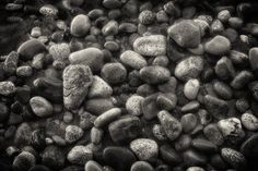 """Fine Art Photography, Black and White Photography, Landscape, Beach, Pacific Northwest, Washington, Whidbey Island, Deception Pass, Rocks, Water, Wet Rocks, Monochrome, Water Worn Rocks, Zen. """"Pebbles on North Beach - Deception Pass"""" Deception Pass State Park is located at the north end of Whidbey Island in Washington State. The north beach is a great place to walk along the water's edge watching the tides rushing in or out through the narrow passage. The smooth stones that litter the…"""