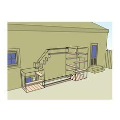 "Hideaway  - 1 three sided enclosure (36""D x 48""L x 48""H) with a 6"" lip  - 1 enclosure (46""D x 48""L x 96""H)  - 1 tunnel (12""W x 96""L x 15""H)  - 1 small tunnel (12""W x 64""L x 15""H)  - 1 4-step stair (12""W x 32""L x 46""H)  - 1 access end cap (12""W x 12""L x 14""H)  - 9 adjustable shelves  - 12 planks of cedar for the floor  - 1 door (24""W x 60""H)  - 1 door (24""W x 36""H)"