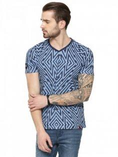 Garcon  Geometric Print T-shirt In V-neck