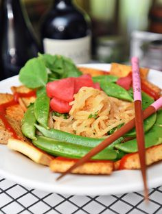 Daikon Noodle Bowl with Sriracha Tofu, Pickled Radish and Snap Peas with Video Tutorial