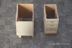 Dollhouse Miniatures: Lower Cabinets tutorial from Paper Doll Miniatures blog