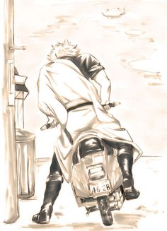 Gintoki with his scooter. Gintama