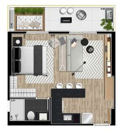 Click to close image, click and drag to move. Use arrow keys for next and previous. Studio Apartment Layout, Small Apartment Design, Studio Apartment Decorating, Small Apartments, Studio Apt, Layouts Casa, House Layouts, Studio Floor Plans, House Floor Plans