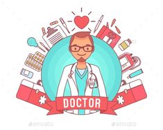 Doctor professional poster. Young qualified clinic physician in uniform, hospital equipment, gear for duty, medical accessories around. Medicine, healthcare concept. Vector line art illustration