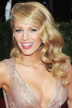 Love her hair & make up! Wouldn't mind Ryan Reynolds either. Blake Lively- Met Ball Hair & Beauty 2014