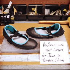 Design-Your-Own Shoe of the Week: Ballerines in Black and Robin Egg Blue! Handmade in Oregon, USA by Soft Star Shoes.