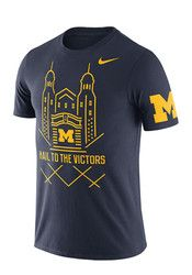 Nike Michigan Mens Navy Blue Campus Elements Tee