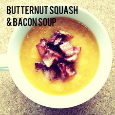 Pumpkin and Bacon Soup (P, GF, V) This delicious soup will warm the cockles of your heart! They key to perfect full flavour is roasting the ingredients first. Omit bacon for a vegan friendly option. Bacon Soup, Butternut Squash, Easy Peasy, Vegan Friendly, Oatmeal, Paleo, Pumpkin, Fruit, Breakfast
