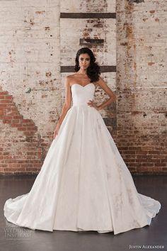 justin alexander spring 2017 bridal strapless sweetheart neckline lightly embellished bodice classic princess ball gown a  line wedding dress chapel train (9858) mv