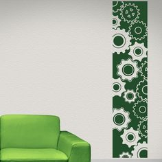 "Style and Apply Gears Strip Wall Decal Size: 63"" H x 14"" W, Color: Black"