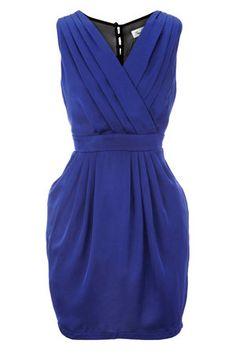 Navy Cross Over Sheer Pannel Dress   Oasis Stores UK