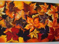 Tela pintada,folhas de outono,tons queimados