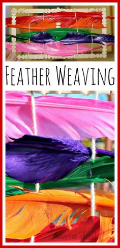 Fall Weaving in Preschool - Weaving with Feathers from www.fun-a-day.com.  Great activity for Thanksgiving fine motor skill practice.