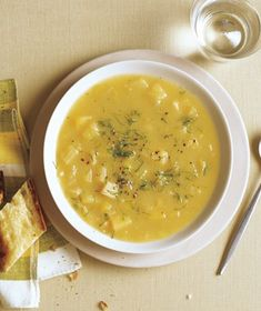 Parsnip and Fennel Soup With Dill | Get the recipe: http://www.realsimple.com/food-recipes/browse-all-recipes/parsnip-fennel-soup-dill-00000000044723/