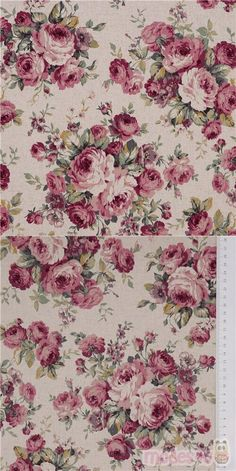smooth cotton-linen canvas fabric in natural color with vintage floral design of pink, mauve and purple roses with green leaves, Material: 80% cotton, 20% linen #Cotton #Linen #Canvas #JapaneseFabrics