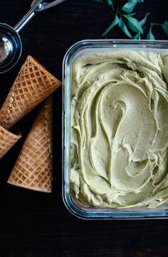 Pistachio + Thai Basil Ice Cream with Magic Shell [Vegan + Naturally Sweetened!]