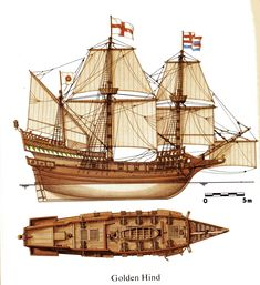 HMS Golden Hind ' English galleon best known for her privateering circumnavigation of the globe between 1577 and captained by Sir Francis Drake. Legend Of The Seas, Golden Hind, Old Boats, Space Pirate, Wooden Ship, Armada, Medieval Fantasy, Tall Ships, Model Ships