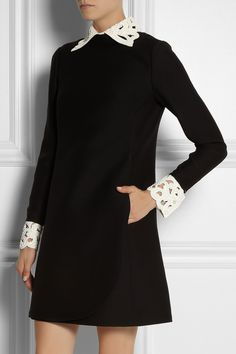 Valentino|Leather-trimmed wool-blend dress |NET-A-PORTER.COM