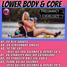 Pregnancy Exercises for the lower body and core so you dont gain a lot of excess weight and can be healthy and fit during pregnancy. All exercises are safe to do during every trimester.  http://michellemariefit.publishpath.com/pregnancy-exercises-for-the-lower-body-core
