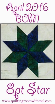 Eight point star, sometimes called Lemoyne star, is the April block of the month.  Video demo included