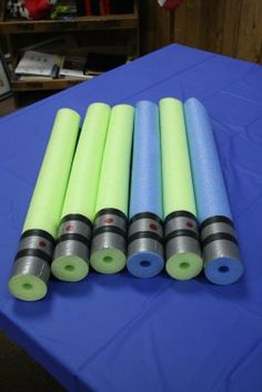 Pool noodle lightsabers!! Awesome favor idea.