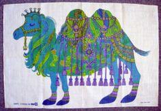 Vintage Unused Oxfam Belinda Lyon Psychedelic Camel Retro Dish Tea Towel 1970s