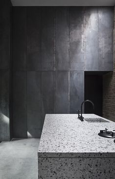 Studio David Thulstrup, grey kitchen, metal cabinets, stone island