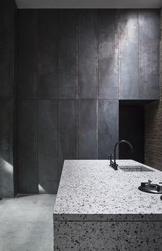 Studio David Thulstrup, grey kitchen, metal cabinets, stone island
