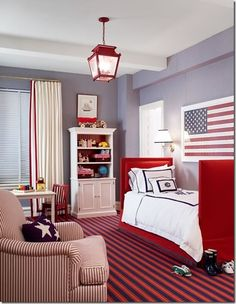 Americana theme for baby smith. I like the grey walls with red white and blue accents.