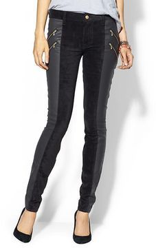 7 For All Mankind Double Zip Sueded Skinny on shopstyle.com