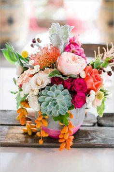 36 trendy Ideas for pink succulent wedding floral arrangements Bright Flowers, Unique Flowers, Beautiful Flowers, Hot Pink Flowers, Elegant Flowers, Fresh Flowers, Pink Roses, Beautiful Pictures, Orange Centerpieces