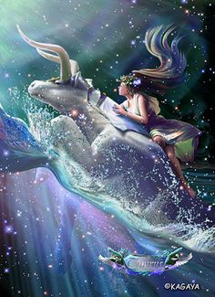 Taurus – Zeus, the lord of gods, metamorphosed himself into the white bull, is passing through the wide ocean. On his back is his beloved Europe, a beautiful princess of Phoenicia. The couple is heading for far land of honeymoon. Europe is certain to live happily there, wherefore the land is called Europe.