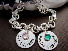 Two Baby/ Children Name w/ Birth Date charm Bracelet, Mother's Bracelet, Personalized Mom Bracelet with Birthstones on Etsy, $39.00