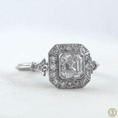 Sweet baby Jesus this is gorgeous. Vintage Asscher Cut Diamond Engagement Ring - Diamond Halo - 1.01 carat - GIA - VS1 clarity - G color - Estate Diamond Jewelry