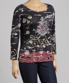 Loving this Black & Red Christmas Tree Scoop Neck Top - Plus on #zulily! #zulilyfinds