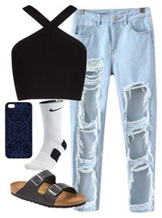 """Untitled #52"" by sydwright17 ❤ liked on Polyvore featuring Chicnova Fashion, NIKE, BCBGMAXAZRIA, Birkenstock and Samantha Warren London"