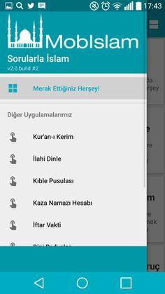 sorularla islam android uygulamasına ait soldan açılır menü ekran görüntüsüdür.