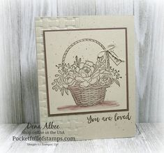 Stampin' Up! Blossoming Basket - Today's Simple Sunday project features a new Sale-A-Bration choice available February 15th...the gorgeous Blossoming Basket stamp set and coordinating Basket Weave embossing folder. Just ONE stamp pad and an aqua painter makes this card so quick and easy!