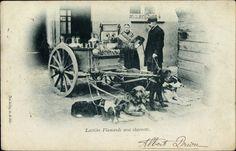 Postcard Laitière Flamande avec charrette, Flämisches Milchmädchen, Zughunde.  Postally used 1900